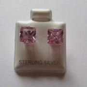 7mm square Princess cut Pink Cubic Zirconia Sterling silver Stud earrings